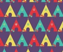 Fabric Freedom Camping - 4259 - Tents in a Row, Yellow, Aqua, Orange - FF95-3 - Cotton Fabric